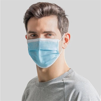 Blue Earloop Non Woven 3 ply Disposable Face Mask Medical Mask with Three Layer Featured Image