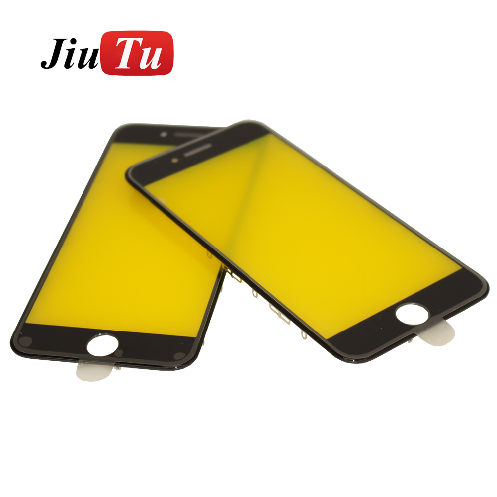 Jiutu OEM Cold Press 2 in 1 Glass Panel with Bezel Frame for iPhone 6G Cracked LCD Screen Repair