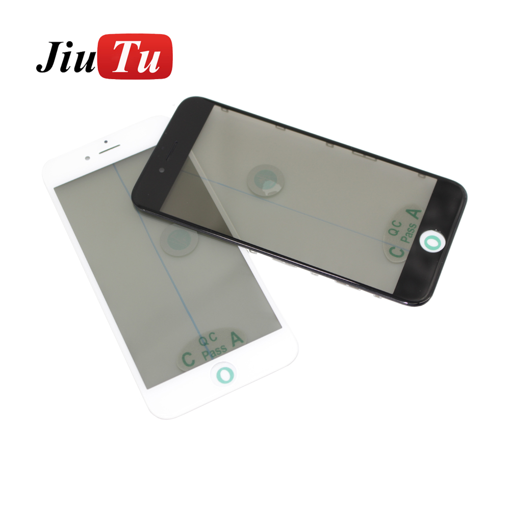 For iPhone 8 Replace Cold Press Assembly LCD Screen Front Panel Glass with Bezel Frame OCA Film Polarizer Film