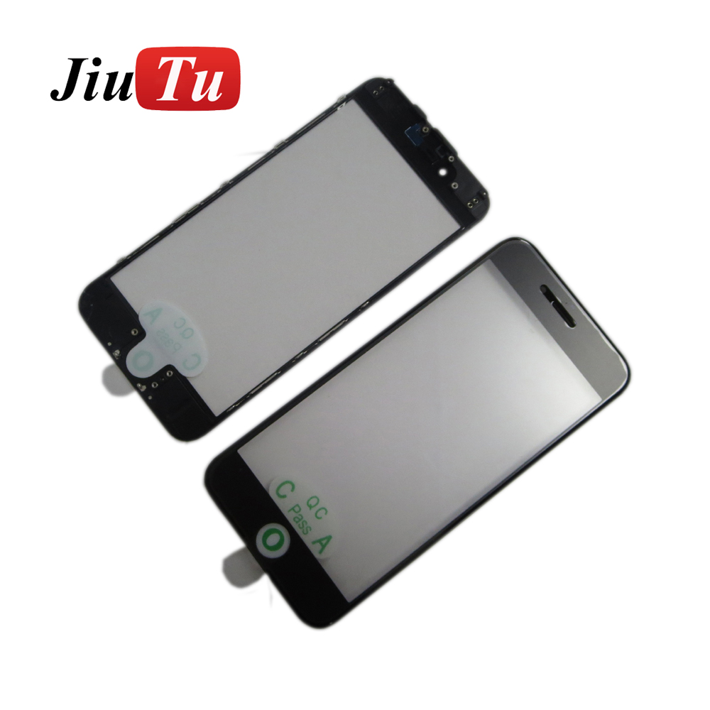 Jiutu New Cold Press For iPhone 6G 4.7 inch Black&White Front Glass Lens With Middle Frame Bezel Bracket+OCA Parts Fix