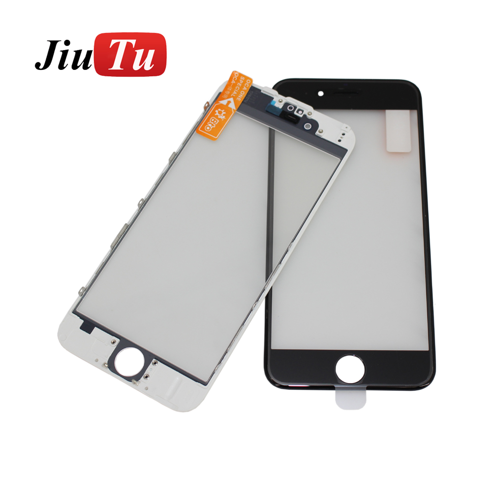LCD Screen Front Panel Glass Lens with Bezel Frame OCA Film Repair Accessories For iPhone 8